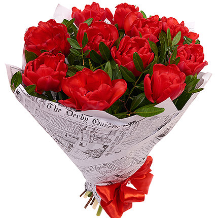 11 red tulips - delivery in Ukraine