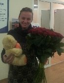 51 red roses with teddy bear