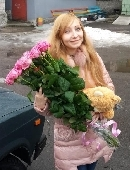 Bear with a bouquet