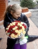 51 red and creamy roses