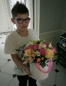 """Flowers in box """"For the best girlfriend"""""""