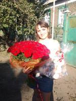 51 красная роза с мишкой