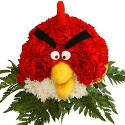 "Decoration of flowers ""Angry Bird"" (red)"