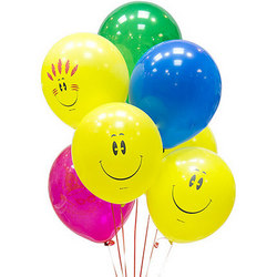 7 multicolored balloons (mix of smiles)