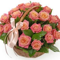 "Basket ""25 pink roses"""