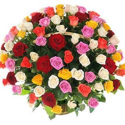 "Basket ""101 multicolored roses"""