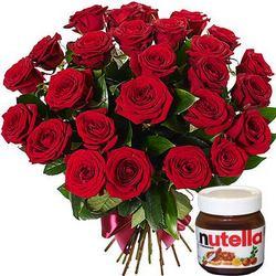 25 червоних троянд + Nutella