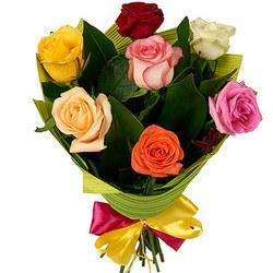 7 різнокольорових троянд