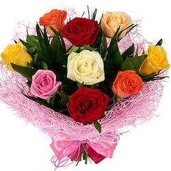 9 різнокольорових троянд