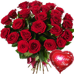 25 red roses with balloon
