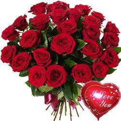25 красных роз с воздушным шаром