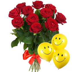 11 red roses with balloons