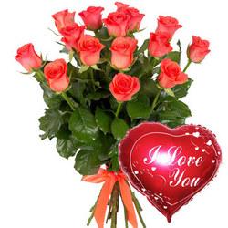 15 коралловых роз с воздушным шариком