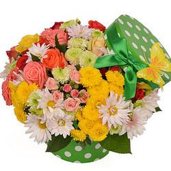 """Цветы в коробке """"Веселое настроение"""""""