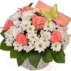 """Цветы в коробке """"Парижанка"""""""