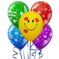 5 разноцветных гелиевых шариков (новогодние)