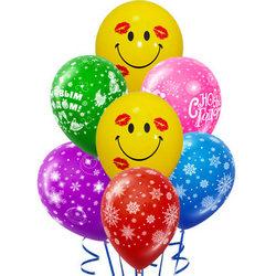 7 разноцветных гелиевых шариков (новгодний микс)