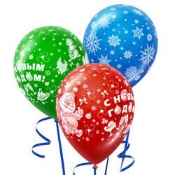 3 гелиевых шарика (новогодний микс)