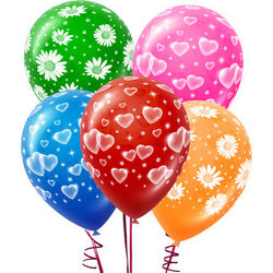 5 colored balloons with romantic prints