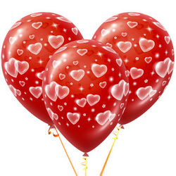 3 red balloons with hearts
