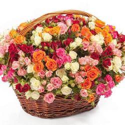 "Корзина ""101 разноцветная кустовая роза"""