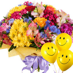 "Bright bouquet ""Hawaiian Flowers"" with balloons"