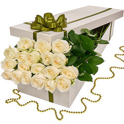 "Flowers in a box ""19 white roses"""