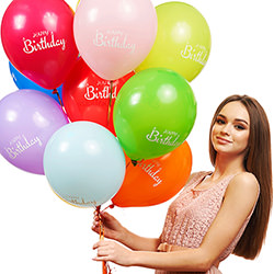 "3 different color balloons ""Happy Birthday"""