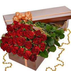 "Flowers in a box ""25 red roses!"""
