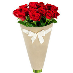 "Bouquet in the cone-package ""15 red roses"""