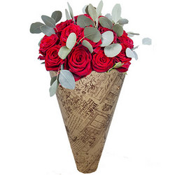 "Bouquet in the cone-package ""11 red roses"""