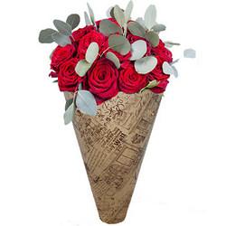"""Букет в конус-пакеті """"11 червоних троянд"""""""