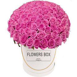 "Flowers in a box ""151 pink roses"""