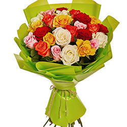 "Bouquet ""25 multicolored roses"""