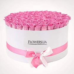 """Цветы в коробке """"101 розовая роза"""""""