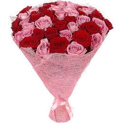 51 червона та рожева троянда