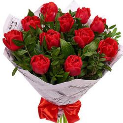 11 червоних тюльпанів